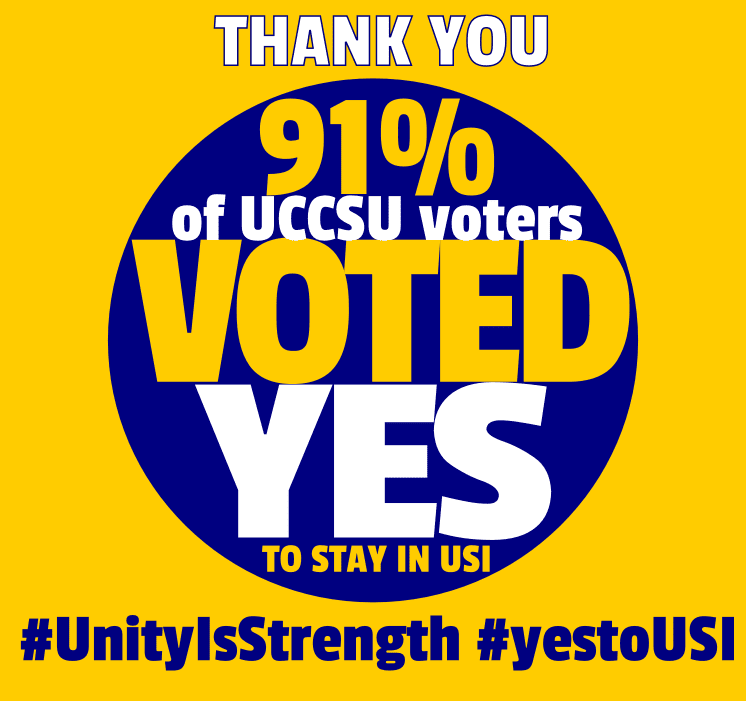 91% of UCC voters say YES to USI. 95% say YES to Marriage Equality.