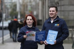 """*** NO REPRODUCTION FEE *** DUBLIN : 11/1/2016 : Today the Union of Students in Ireland launched their General Election Manifesto 2016 outside the Dáil, focusing on how young people will have a deciding impact on the next government, in areas like Higher Education funding, Repealing the 8th and accommodation. USI have registered 80,000 students to vote in the last two years."""" Pictured (l-r) at the launch of USI General Election Manifesto 2016 outside the Dáil was USI President Kevin Donogue with Deputy USI president Annie Hoey. Picture Conor McCabe Photography. MEDIA CONTACT : Fiona O'Malley, Communications Executive, Union of Students in Ireland email fiona.omalley@usi.ie"""