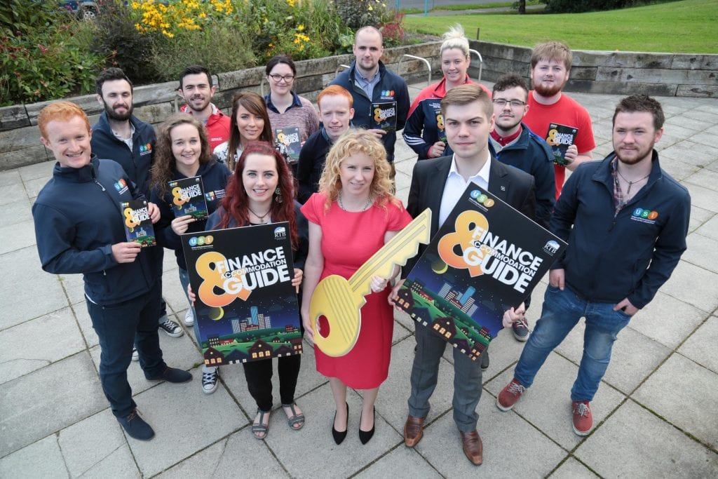 NO REPRO FEE. Maynooth University, 30/08/2016. Pictured here at the launch of the USI and RTB Finance and Accommodation Guide were Annie Hoey, USI President (left), Ms. Rosalind Carroll, Director of the Residential Tenancies Board and Dillon Grace, Maynooth Students' Union President with USI officers from across Ireland. The guide has a rent book and inventory checklist included, so students can record any damages or missing utensils at the start of the lease, and not be penalised unfairly on their deposit. The guide also provides information on finance and gives budgeting tips for students to financially manage the college year.  Pic: Alan Rowlette ENDS Contact: Annie Hoey, USI President, 087-6776636 Dillon Grace, Maynooth Students' Union President, 01-7086436 Jack Leahy, USI Deputy President, 0861303101 For media requests email Fiona.omalley@usi.ie or call 0874495695 USI is the national representative body for the 354,000 students in third level education on the Island of Ireland.  We are a membership organisation – our members are our affiliated Students' Unions around Ireland, North and South.