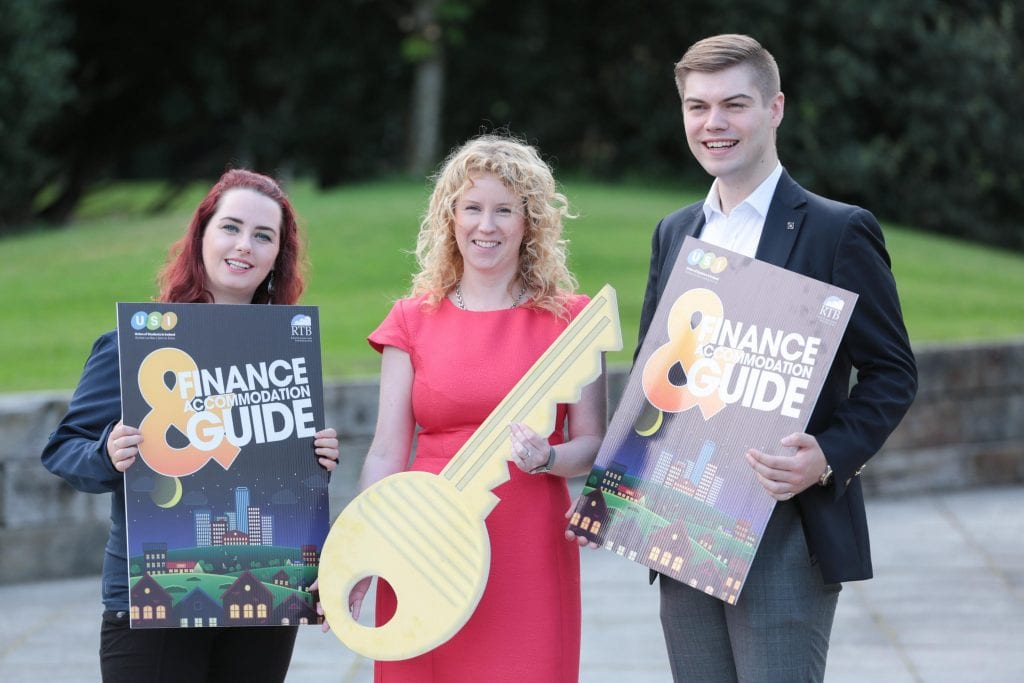NO REPRO FEE. Maynooth University, 30/08/2016. Pictured here at the launch of the USI and RTB Finance and Accommodation Guide were Annie Hoey, USI President (left), Ms. Rosalind Carroll, Director of the Residential Tenancies Board and Dillon Grace, Maynooth Students' Union President. The guide has a rent book and inventory checklist included, so students can record any damages or missing utensils at the start of the lease, and not be penalised unfairly on their deposit. The guide also provides information on finance and gives budgeting tips for students to financially manage the college year. Pic: Alan Rowlette ENDS Contact: Annie Hoey, USI President, 087-6776636 Dillon Grace, Maynooth Students' Union President, 01-7086436 Jack Leahy, USI Deputy President, 0861303101 For media requests email Fiona.omalley@usi.ie or call 0874495695 USI is the national representative body for the 354,000 students in third level education on theIsland of Ireland. We are a membership organisation – our members are our affiliated Students'Unions around Ireland, North and South.