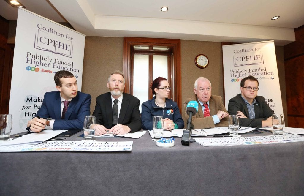 NO REPRO FEE 28/09/2016. The Coalition for Publicly Funded Higher Education to make recommendations in support of publicly funded education. The Coalition for Publicly Funded Higher Education, a group comprising of USI, SIPTU, IFUT, IMPACT and TUI hold a press conference in Buswells Hotel to make the case for publicly funded third level education, including how it would work, why it is vital for the future of the country and how publicly-funded third level education has worked in other countries. Pictured are (LtoR) Joe O'Connor, IMPACT lead organiser, Aiden Kenny, TUI, Assistant General Secretary, Annie Hoey, USI President, Mick Jannings, IFUT General Secretary and Dan O'Neill, Siptu, Compaign and Equality Dep. Photography: Sasko Lazarov/Photocall Ireland